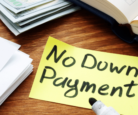 """sticky note with """"no down payment"""" written in marker"""