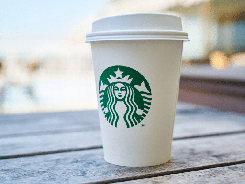 white disposable starbucks cup